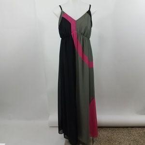 Soma Dress Maxi S Gray Pink Black Sheer Spaghetti